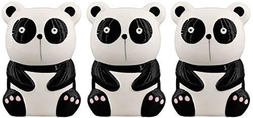 Hochwertige Luftbefeuchter 3-teiliges Set handbemalt - Tiermotive - für Heizung aus Keramik - glänzend glasiert - Wasserverdunster Verdampfer Verdunster Klima (Panda)