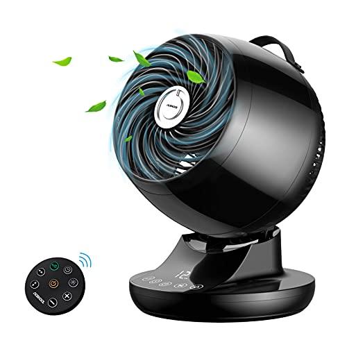 Ventilator Leise Acekool DC-MOTOR & 3D Luftumwälzer ND1 Turbo Tischventilator mit Magnetischer Fernbedienung &12H-Timer geräuscharm 28W Tastbildschirm ECO-Mode Lüfter für Schlafzimmer Büro (schwarz)