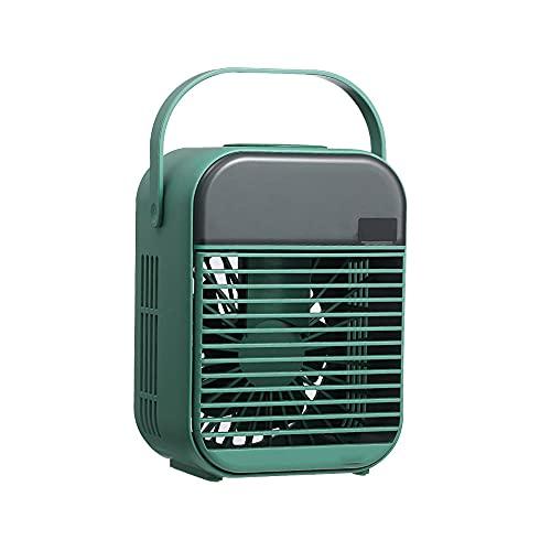 Mini Klimageräte 4 In 1 Persönlich Ventilator Tragbar Luftkühler Mobile Klimaanlage Klein Air Cooler Mit Nachtlicht 3 Windgeschwindigkeiten Desktop USB Verdunstungskühler für Zimmer(Grün)