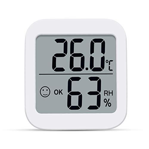 Aplusdeal digitales Thermo-Hygrometer Innen Thermometer Hygrometer Raumthermometer Temperatur und Luftfeuchtigkeitsmessgerät mit Raumklima-Indikator für Raumklimakontrolle Klima Montior, Weiß