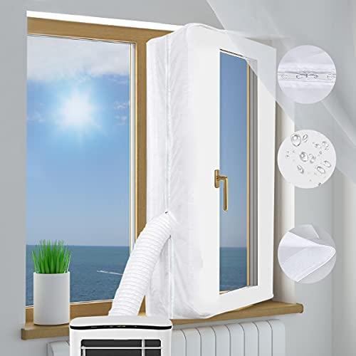 Fensterdichtung für Mobile Klimaanlagene Klimagerät Fensterabdichtung Dachfenster 500cm, Air Stop zum Anbringen an Fenster, Universal-Fensterdichtung für Klimaanlagen Wäschetrockner und Ablufttrockner
