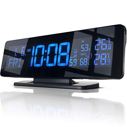 Funk Wetterstation mit Farbdisplay temperaturgesteuert 256 Farben - inkl. Außensensor - Wecker mit Snooze - DCF Signal - Innen- und Außentemperatur - Hygrometeranzeige - Luftfeuchtigkeitsmesser
