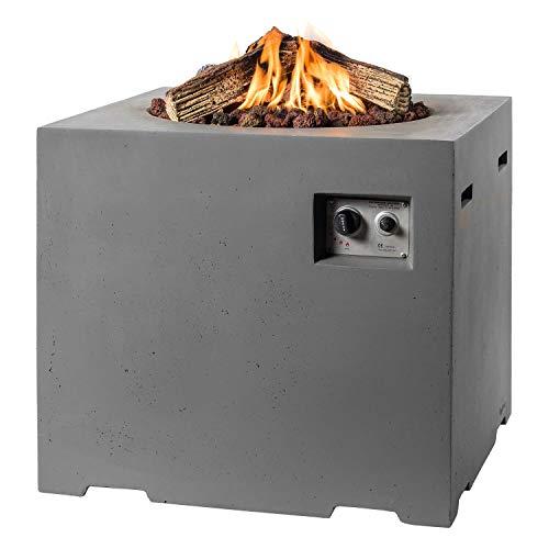 M A N I A Feuertisch für den Garten - Gas Feuerstelle ohne Rauch, Funken, Glut & Asche - Gaskamin Outdoor mit 19,5 kW als Stehtisch in Betonoptik grau 76 x 76 x 67 cm - Gasfeuerstelle Terrassenkamin