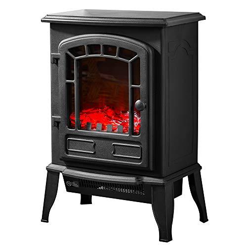 Deuba Elektro Kamin Elektrischer mit Heizung LED Kaminfeuer Effekt 2000W schwarz Flammeneffekt Heizer Ofen schwarz