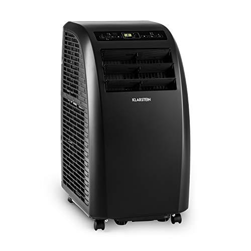 Klarstein Metrobreeze Rom Klimaanlage mobiles Klimagerät Ventilator (EEK: A+, 10.000 BTU/h, 18-30 °C, Zeitsteuerung, Sleep Mode, Bodenrollen, Timer, inkl. Fernbedienung) schwarz