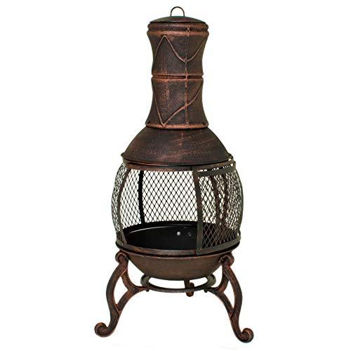 Ofen Terrassenofen mit Grillrost & Gittertür, Massive Qualität aus Gusseisen, Feuerkorb, Feuerstelle, Azteken, Gartenofen Gartenkamin…