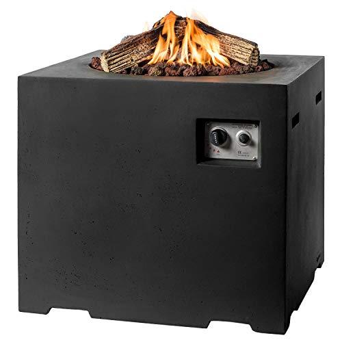 MANIA Feuertisch für den Garten - Gas Feuerstelle ohne Rauch, Funken, Glut & Asche - Gaskamin Outdoor mit 19,5 kW als Stehtisch in Betonoptik schwarz 76 x 76 x 67 cm - Gasfeuerstelle Terrassenkamin