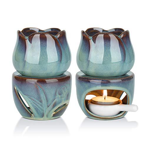 ComSaf 2er-Set Keramik Duftlampe, Abnehmbar Wachs Aromalampe, Tulpenform Aromabrenner mit Kerzenhalter für Duftöl und Duftwachs(Smaragd)
