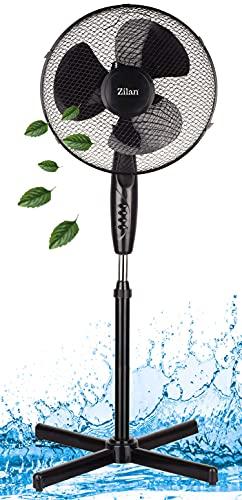 Standventilator leise Ø41 cm | 3 Stufen | Luftkühler | Klimagerät | Turmventilator | Bodenventilator | Ventilator | 180° Rotation | Windmaschine | Fan | Höhenverstellbar (Bolton Black)