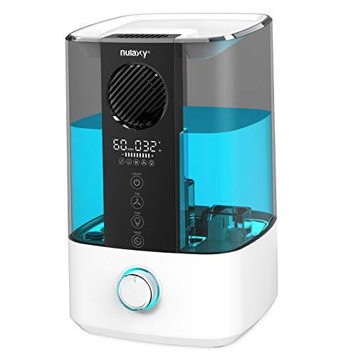 NULAXY Top Fan Luftbefeuchter, 4.5L Raumluftbefeuchter Kühler Nebel Ultraschall Humidifier mit Reinigungsalarm, Timer für Schlafzimmer bis 20-70m²