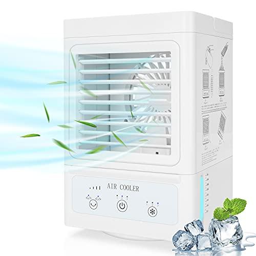 Fitfirst Mobiles Klimagerät mit Akku, 3 in 1 Tragbarer Aircooler: Klimaanlage, Tischventialtor, Luftbefeuchter, 3 Kühlstufen / 3 Geschwindigkeiten / 60°  120°Auto Oszillation / 700ML Wassertank