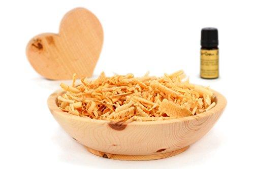 Duftset aus Zirbenholz - Schale & Späne & Herz & Zirbenöl - Deko Set Aroma - Hilfe bei Schlafstörungen und Migräne