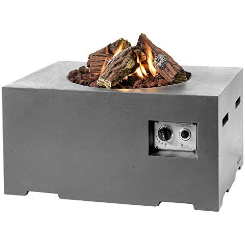 M A N I A Feuertisch für den Garten - Gas Feuerstelle ohne Rauch, Funken, Glut & Asche - Gaskamin Outdoor mit 12 kW in Betonoptik grau 80 x 60 x 40 cm - Gasfeuerstelle Terrassenkamin Kaminfeuer