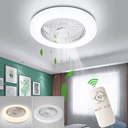 LED Deckenventilator Mit Beleuchtung Modern Dimmable 72W Lüfter-Deckenleuchte Ultra-Leise Unsichtbar Wind /Lichtquelle Einstellbar Ventilator Deckenlampe Schlafzimmer Fan Lüfter Lampe(Ø52CM),Weiß