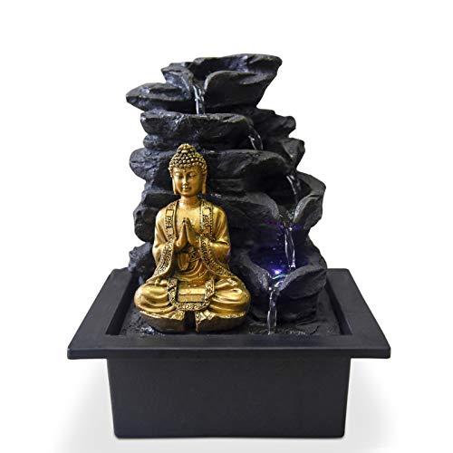 Zen'Light Shira Zimmerbrunnen mit Pumpe und LED-Beleuchtung, Kunstharz, Einheitsgröße