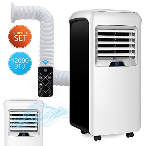 Home Deluxe - Mobile Klimaanlage SET Mokli XXL - Klimagerät mit 4in1 System: kühlen, heizen, entfeuchten, lüften - 12000 BTU/h (3.500 Watt) - Klima mit Montagematerial, Fernbedienung und Timer