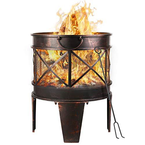 femor feuerschale Ø42cm mit Griffen, Feuerschale in Antik-Rost-Optik, Garten Feuerstelle, Metall Feuerkorb mit Feuergabel,Tragbar und leicht zu bewegen,58x45x42cm