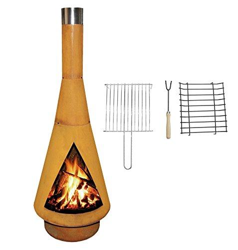 YERD Corten Terrassen-Ofen/Grill-Kamin Denver BBQ: Echter Corten-Stahl Gartenkamin (Edelrost), inkl. Grill-Rost (L 125cm Corten)