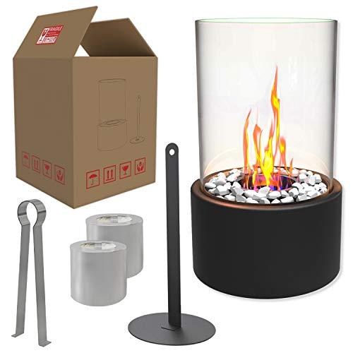Einzigartiger Tischkamin | Feuertisch mit Deko Steinen und 2 Brennkammern (Tanks) für unendliche Brenndauer | Ethanol Kamin | Tischfeuer | Indoor Outdoor | Terrassenofen | Bioethanol | Balkon Zubehör
