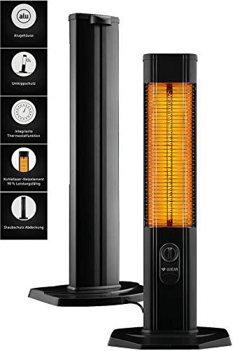 LXV2000 Infrarot Heizung Heizstrahler Carbon Standheizstrahler Terassenheizung | Für Indoor | 2000 Watt | Thermostat | Abdeckhaube | Alu-Gehäuse | Umkippschutz