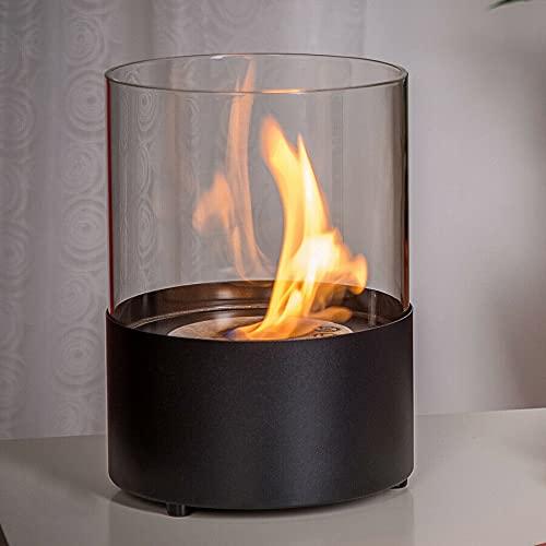 CLYZ Tischkamin Bio-Ethanol Kamin Tischofen Tischfeuer schwarz Stahl Glas