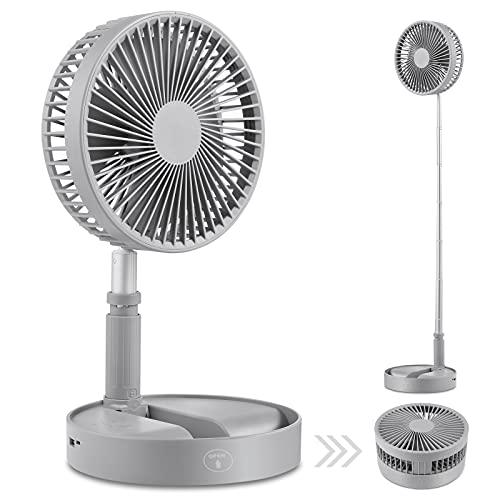 Schreibtisch- und Tischventilator, tragbarer Travel Mini-Lüfter mit elektrolüfter standventilator,tischventilatoren Batteriebetrieben USB, einstellbare Höhe von 14,2 Zoll bis 3,3 Fuß als (Grey)