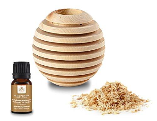 Pinus Cembra Aroma Duftbehälter Globe aus Zirbenholz mit Raumduftöl Zirbe Raumduft Lufterfrischer …