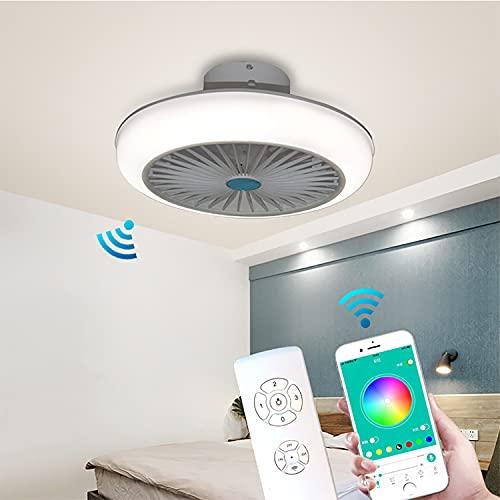 Deckenventilator Mit Beleuchtung Und Fernbedienung Leise Lampe Mit Ventilator Und Farbwechsel Deckenlampe Mit Ventilator Led Bluetooth Deckenventilator Mit Licht Dimmbar 45CM 72W,Weiß
