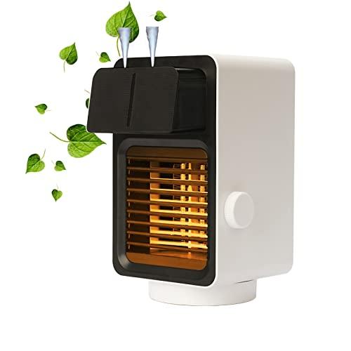 Kleine PTC Keramik Mobile Heizung Elektrisch,Tragbare Mini Desktop-Schüttelkopf Energiesparend Heizlüfter,Wohnzimmer Wärmestrahler Mit Luftbefeuchter Und Nachtlicht,3-stufige Temperatureinstellun