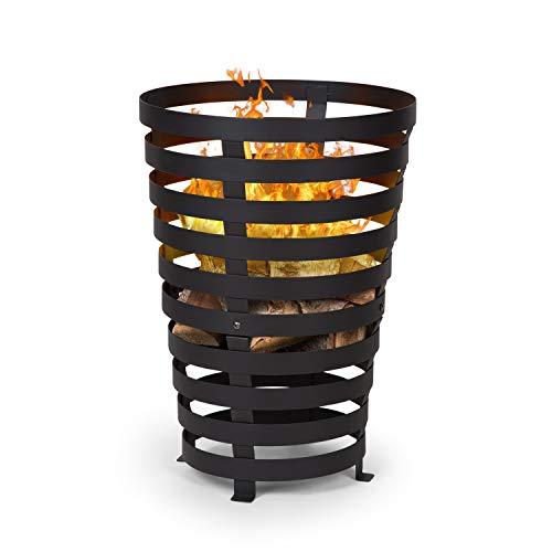 blumfeldt Verus - Feuerkorb aus Stahl, 42 cm Feuerstelle, Stabiler Stand, Vier robuste Füße, schwarz