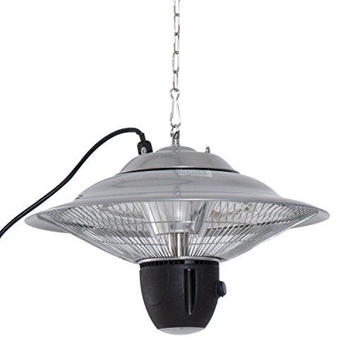 Outsunny Deckenheizstrahler Heizstrahler 1500W mit LED inkl. Fernbedienung Terrassen Alu Silber Φ42 x H29cm