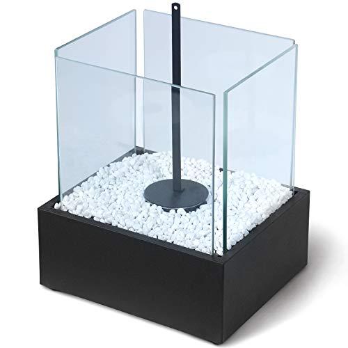 Tischkamin - Edelstahl, Bio-ethanol, für den Innen- und Außenbereich, inkl. Steine, Schwarz - Feuerstelle, Glaskamin, Glasfeuer, Tischfeuer, Tisch-Dekofeuer