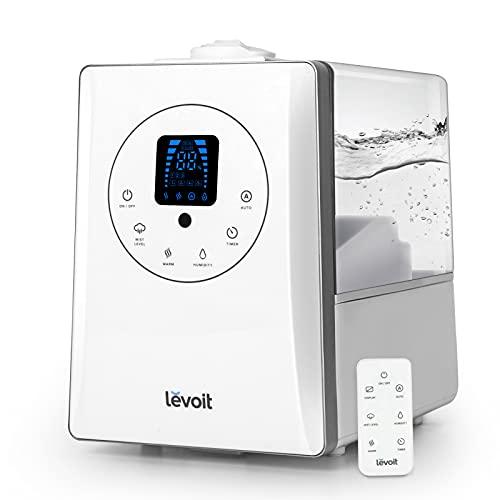 LEVOIT Ultraschall Luftbefeuchter 6L, Warmer/Kühler Nebel mit Feuchtesensor, Fernbedienung und 1-12H Timer, Dual 360° Drehbare Dampfdüsen, Automodus, Aroma Diffusor für Kinder, Pflanzen, Schlafzimmer