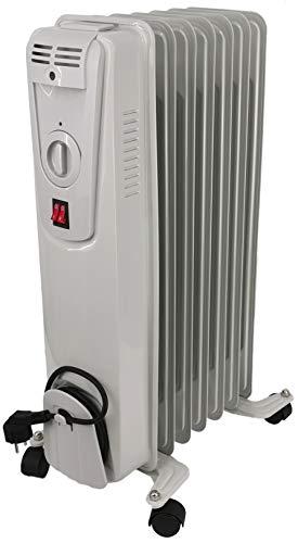 Ölradiator - elektrische Heizung mit 7 Rippen - 3 Heizstufen max.1500W - Öl Radiator Elektroheizung Temperaturregelung und Überhitzungsschutz (1500Watt - grau)