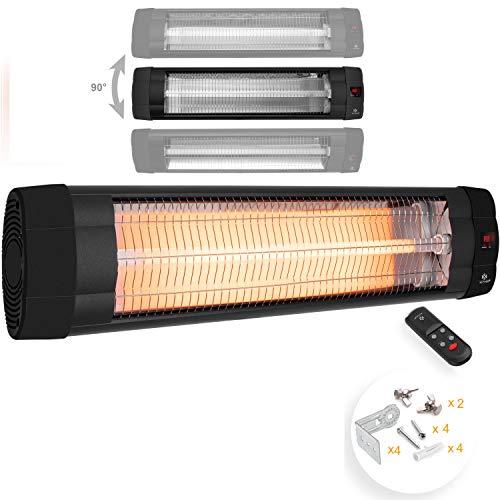 KESSER® Infrarotstrahler 2500 Watt Heizstrahler Terrassenstrahler Wärmestrahler mit Fernbedienung , Wandhalterung , Leistung: 2500W mit Fernbedienung (2500W mit Fernbedienung ( Schwarz ))