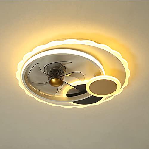 Deckenventilatoren Mit Beleuchtung,Esszimmer 4-Ring Ventilator Deckenleuchte, 3 Geschwindigkeiten, Dimmbare Mit Fernbedienung,50CM APP-Steuerung Lüfter Lampe Für Schlafzimmer