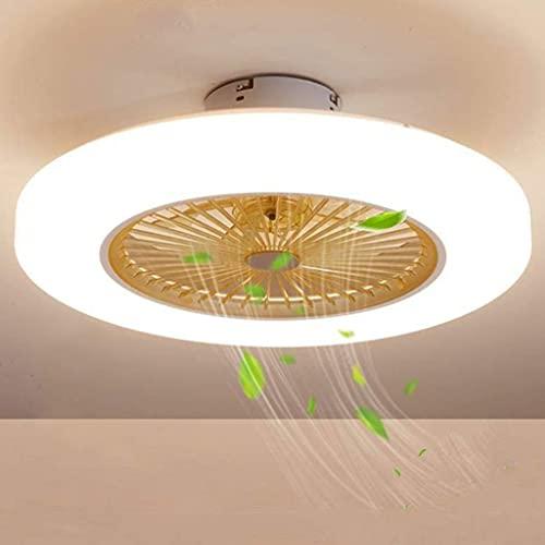 Deckenventilator Mit LED Beleuchtung Fan Deckenleuchte Dimmbare Fernbedienung Leise Ventilator Modern Licht Justierbare Windgeschwindigkeit Kronleuchter Für Kinderzimmer Schlafzimmer,Gelb