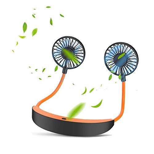 Tragbarer Ventilator Klein, Hals Ventilator Leise with Rechargeable 5200mAh Battery 10 Stunden Akkulaufzeit 4 Speed 360° Rotatable,Mini USB Lüfter for Outdoor Travel Office Sommer Gadgets (Orange)