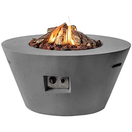 M A N I A Feuertisch für den Garten - Gas Feuerstelle ohne Rauch, Funken, Glut & Asche - Gaskamin Outdoor mit 19,5 kW in Betonoptik grau 96 x 96 x 46 cm - Gasfeuerstelle Terrassenkamin Kaminfeuer