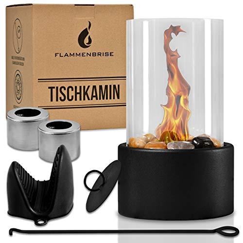 Flammenbrise Tischkamin | Tischfeuer für Indoor und Outdoor | Ethanol Kamin mit [200g] Natursteinen | INKL. 2 Brennkammern | Unendliche Brenndauer