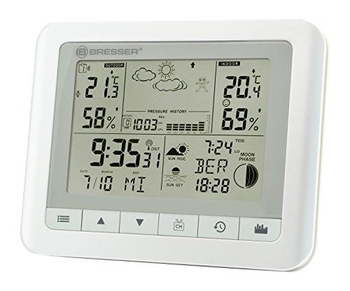 Bresser Wetterstation Funk mit Aussensensor TemeoTrend WF mit Innen-/Außentemperatur und Luftfeuchtigkeit, 6-Stunden-Wettervorhersage, Mondphasen, Außensensor, DCF-Funksignal und Wecker, Weiß