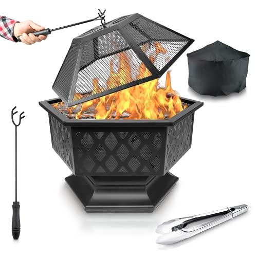 FUNKENFLUG® Feuerschale mit Funkenschutz & Grillrost - für wohlige Wärme & wundervoll gesellige Abende an der Feuerstelle - ideale 3in1 Grill Feuerschalen für den Garten Feuerschale mit Grillrost