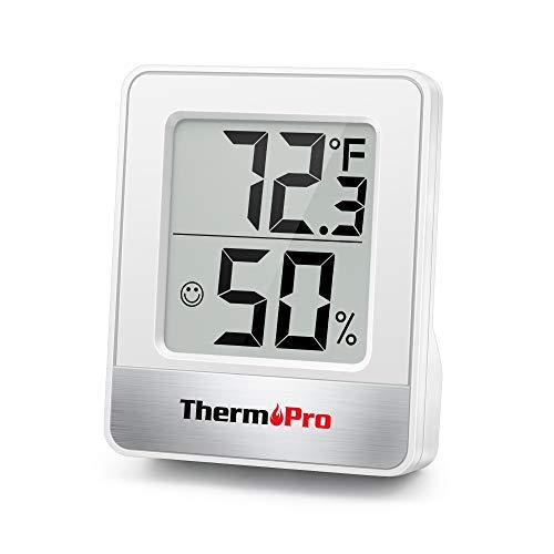 ThermoPro TP49 digitales Mini Thermo-Hygrometer Thermometer Hygrometer innen Temperatur und Luftfeuchtigkeitmessgerät mit Smiley-Indikator für Raumklimakontrolle, weiß