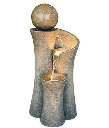 Dehner Gartenbrunnen Acapulco mit LED Beleuchtung, ca. 100 x 45 x 42.5 cm, Polyresin, grau/braun