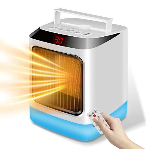 Merkisa Heizlüfter 1000W kleine Energiesparende Heizung mit LED-Licht Fernbedienung Timer, umweltfreundliche Mini-Raumheizung und -kühler für Schlafzimmer Büro Badezimmer, Überhitzung und Kippschutz