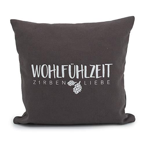 Herbalind Zirbenkissen Graz mit Reißverschluss hochwertige Zirbenflocken - Bezug aus 100% Baumwolle ohne Zusatzstoffe - Duftkissen, Zierkissen, Farbe anthrazit, Geschenk Frauen 25x25cm