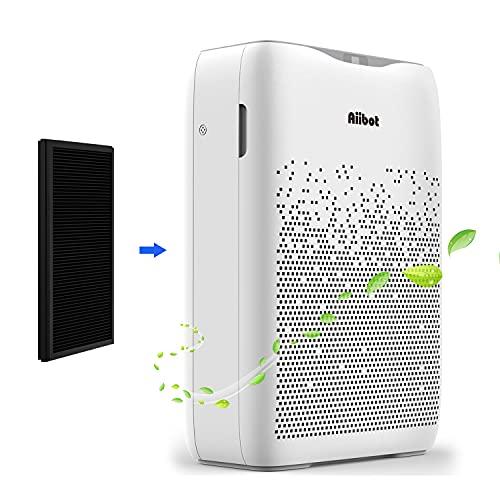 Aiibot Luftreiniger Luftfilter mit HEPA Aktivkohlefilter,Entfernt 99,9% Partikel,CADR 210m3/h bis zu 60m2,Filtert effektiv Staub Rauch Pollen Allergene Gerüche und Tierhaare,Timer und Schlafmodus