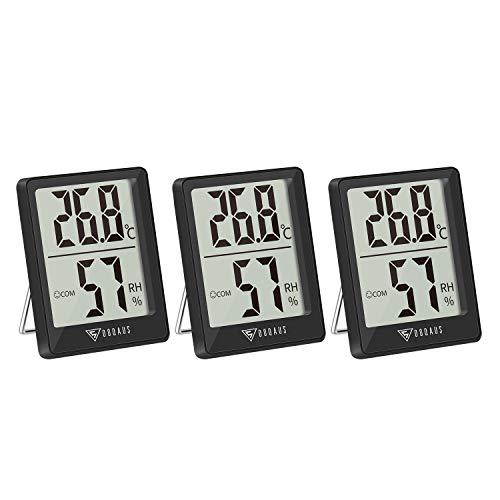 DOQAUS Digital Hygrometer Innen, 3 Stück Thermo-Hygrometer Innen Hygrometer Feuchtigkeit Raumthermometer Luftfeuchtigkeitsmessgerät mit Hohen Genauigkeit, für Innenraum, Babyraum, Wohnzimmer, Büro