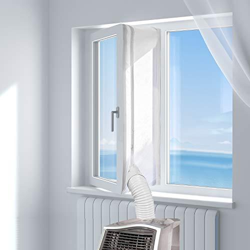 HOOMEE Fensterabdichtung für Mobile Klimageräte, Klimaanlagen, Wäschetrockner, Ablufttrockner, Hot Air Stop zum Anbringen an Fenster, Dachfenster, Flügelfenster, Fensterabdichtung Klimaanlage 400cm