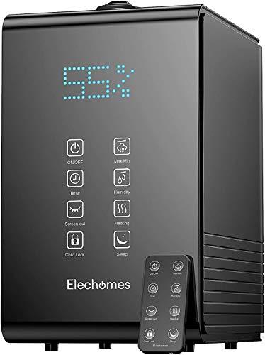 Elechomes Top-Füllung Ultraschall Luftbefeuchter 5.5L, Raumbefeuchter Warm/Kalt Dampf mit Fernbedienung und Feuchtmonitor, Dual 360° drehbare Dampfdüsen, Timer 1-12H, SH8820